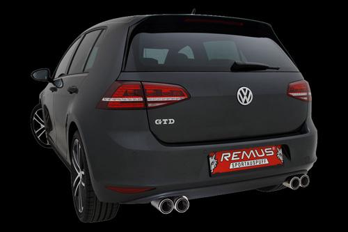 Accessoires tuning , REMUS pour silencieux arrière avec 4 embouts et  diffuseur arrière pour la VW Golf VII GTD, type AU